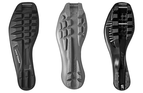 Nordic skiing boot soles
