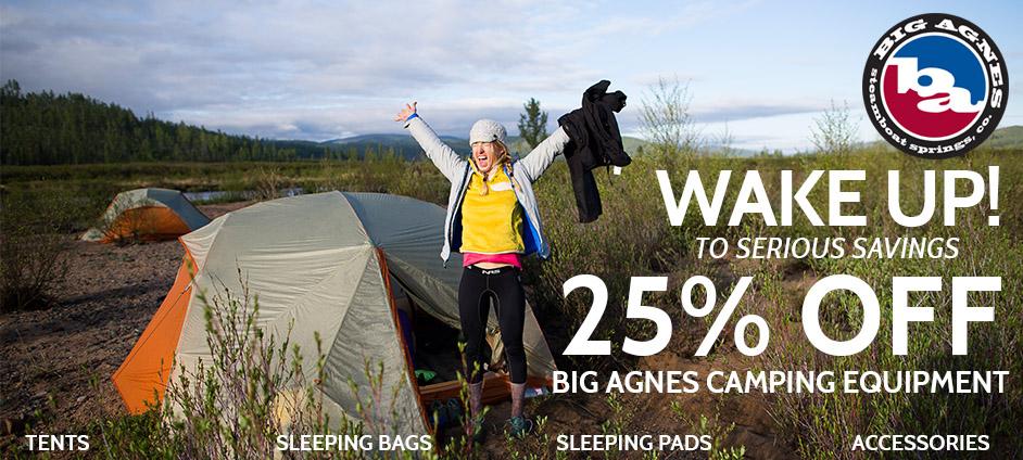25% OFF Big Agnes Camping Equipment