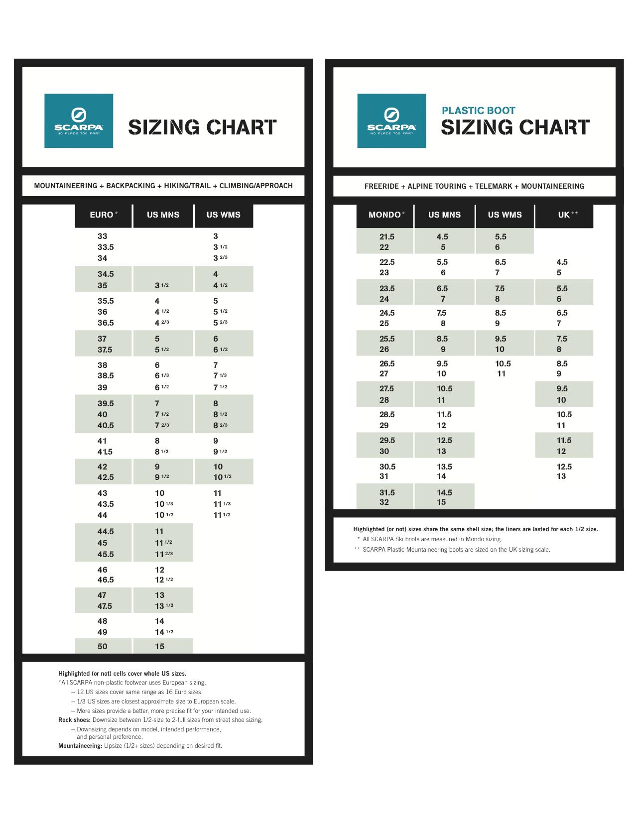 merrell size table pdf
