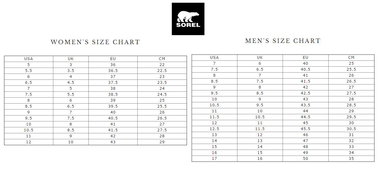 Sorel Size Chart - Sorel womens sizing chart jpg